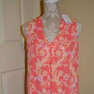 424d21109c5e87 Rose + Olive Sleeveless Orange Pink White Tunic